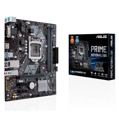 M1151 Placa Mãe LGA1151 Asus PRIME H310M-E/BR DDR4 ( 2x DDR4 / 1x PCIe 3.0 x16 / 2x PCIe 3.0 x1 / 1x M.2 / 2x USB 3.0 / 2x USB 2.0 / 1x HDMI / 1x VGA / 2x PS2 )