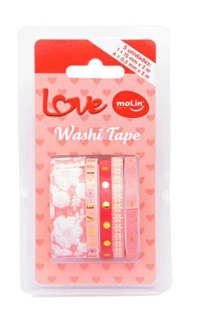 Conjunto Washi Tape Slim 5 Unid Floral Rosa