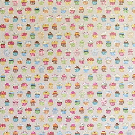 Folha de Scrapbook - Cupcakes Coloridos