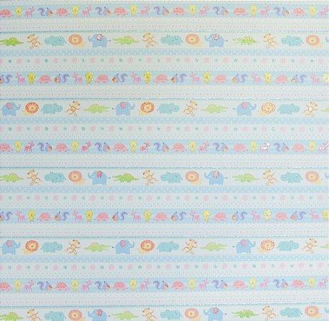 Folha de Scrapbook Tema Bebês - Listras Azuis