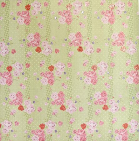 Folha de Scrapbook - Rosas com Fundo Verde