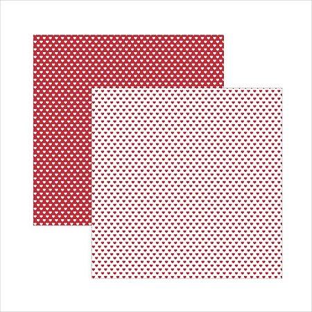 Folha de Scrapbook Coração - Vermelho e Branco