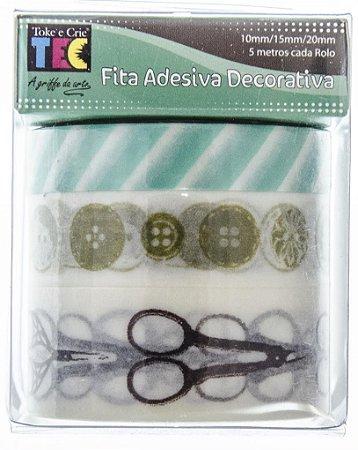 Conjunto Fita Adesiva Washi Tape Tesouras e Botões