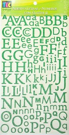Adesivo Letras e Números com Glitter Verde