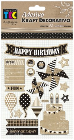 Adesivo Kraft Decorativo - Aniversário