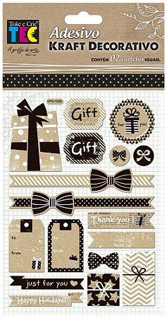 Adesivo Kraft Decorativo - Presentes