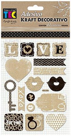 Adesivo Kraft Decorativo - Love