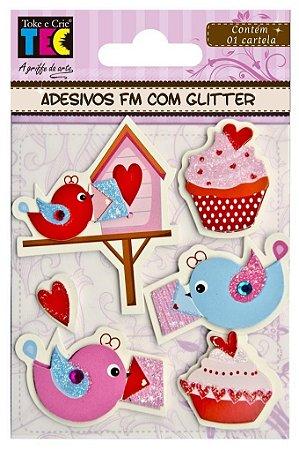 Adesivo Feito à Mão com Glitter - Pássaros e Cupcake