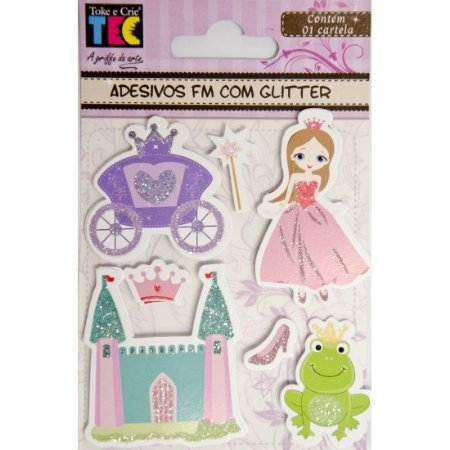 Adesivo Feito à Mão com Glitter - Princesas