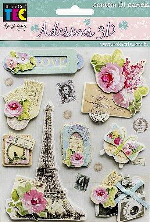 Adesivo 13 x 14 cm 3D - Paris Romance