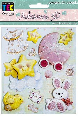Adesivo 13 x 14 cm 3D - Bebe, Menina e coelho