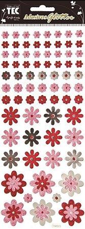 Adesivo Glitter - Flores Estilizadas