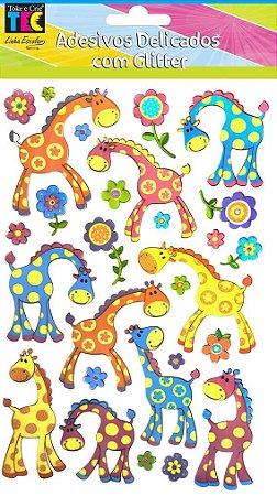 Adesivo Delicado com Glitter - Girafas