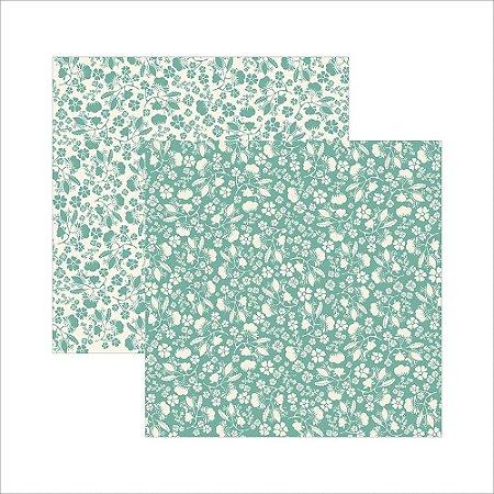 Folha de Scrapbook Verde Floral