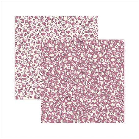 Folha de Scrapbook Clássico Pink Floral