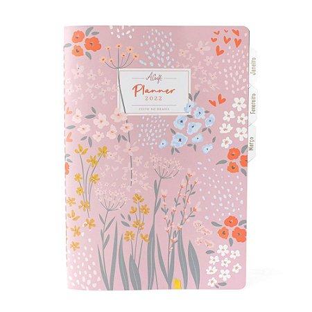 Bloco Planner Modular 1º trimestre 2022 Rosa Floral