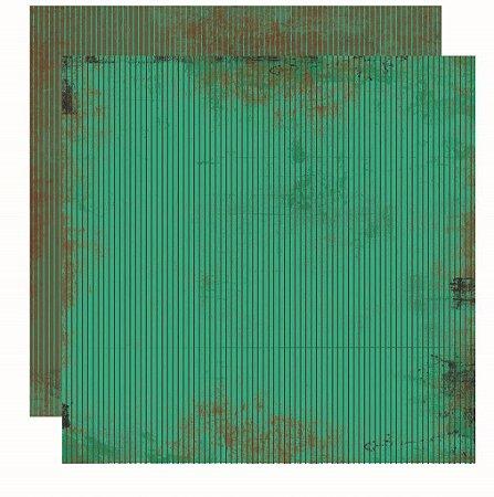 Folha de Scrapbook Vintage Verde Listras