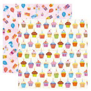 Folha de Scrapbook Festa Cupcake Diversos