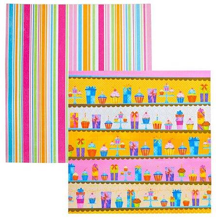 Folha de Scrapbook Festa Cupcakes Barrinhas