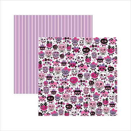 Folha de Scrapbook Caveiras Pink Divertidas