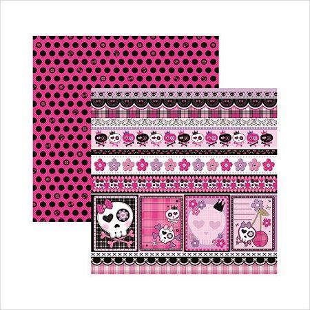 Folha de Scrapbook Caveiras Pink Barrinhas