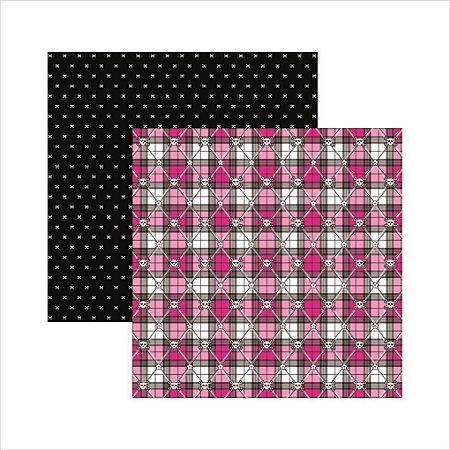 Folha de Scrapbook Caveiras Pink Xadrez