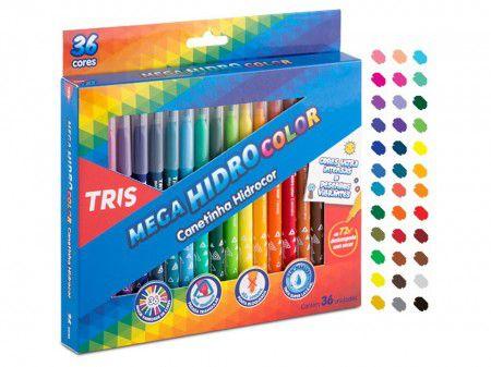 Canetinha Mega Hidrocolor 36 Cores