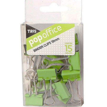 Pop Office Binder Clips 15 Unidades Verde