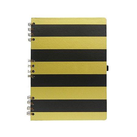 Caderno Listras Pretas e douradas
