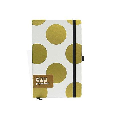 Caderno Papertalk Branco com Bolas Douradas