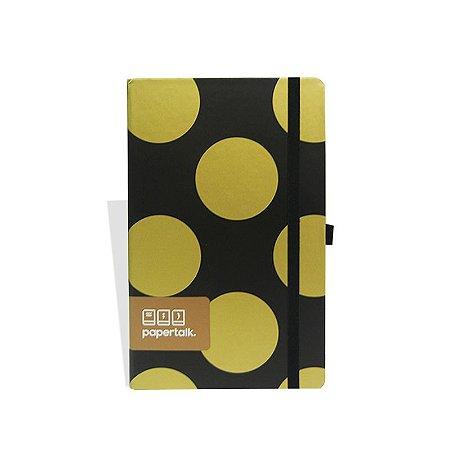 Caderno Papertalk Preto com Bolas Douradas