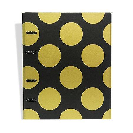 Caderno Fichário Bolas Preto e Dourado