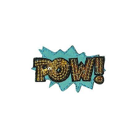 Patch Pow com Paetê Azul