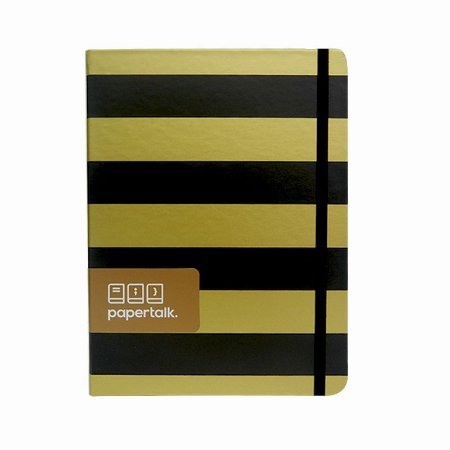 Caderno Papertalk com Listras Douradas e Pretas