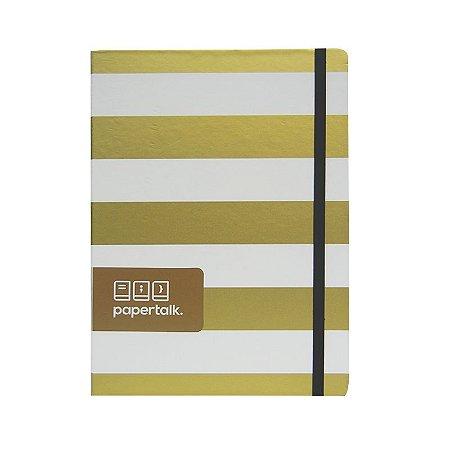 Caderno Papertalk com Listras Douradas e Brancas