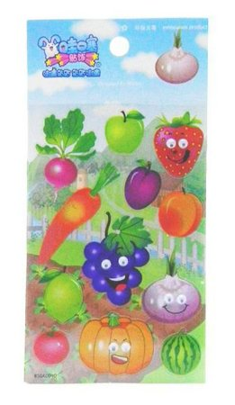 Adesivo Frutas e Legumes com Olhos 3D
