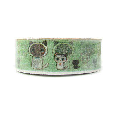 Fita Adesiva Washi Tape Gatinhos Verde