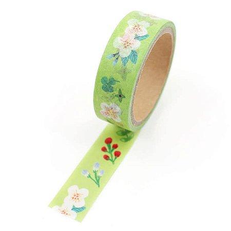 Fita Adesiva Washi Tape Flores Verde