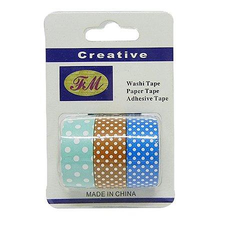 Conjunto Fita Adesiva Washi Tape Poa Azul