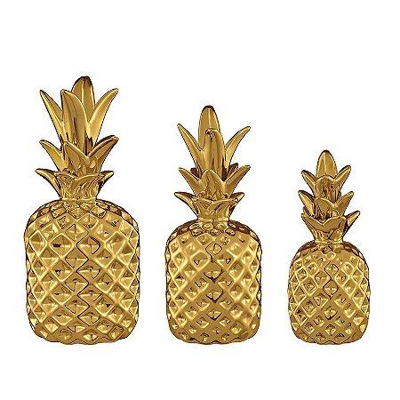Conjunto 3 Peças Abacaxi Dourado