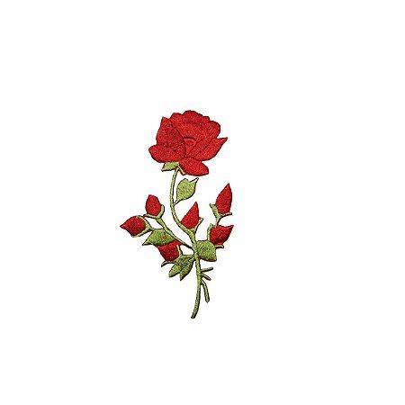 Patch Mini Rosa Vermelha com Botão