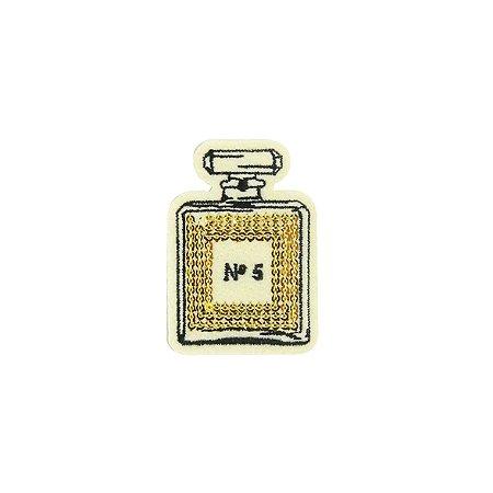 Patch Perfume com Paetê Dourado Bege