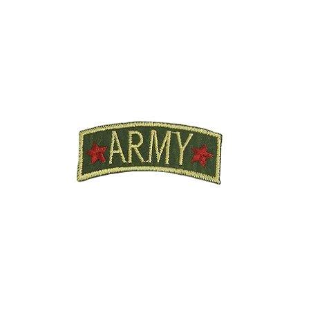 Patch Army 2 Estrelas Verde com Bege