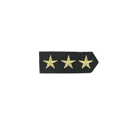 Patch Brasão 3 Estrelas Preto com Bege