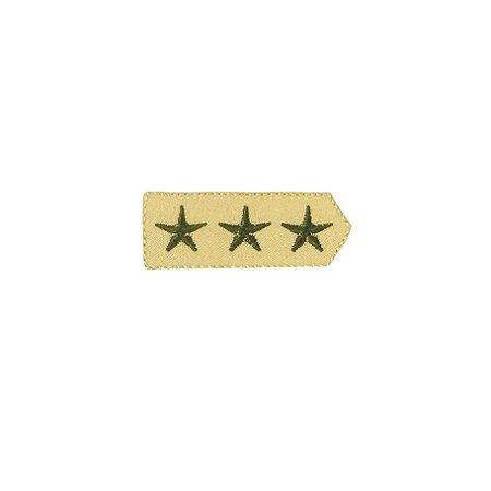 Patch Brasão 3 Estrelas Bege com Verde