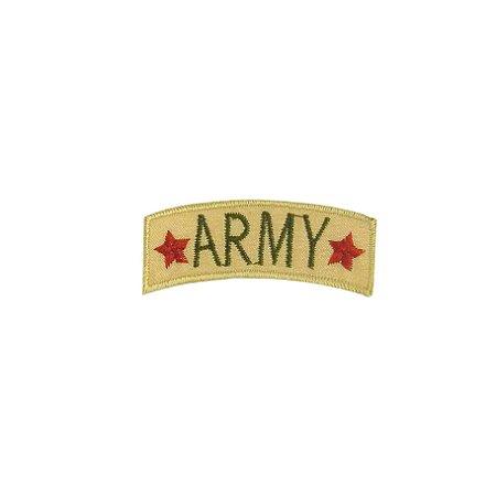 Patch Army 2 Estrelas Bege com Verde