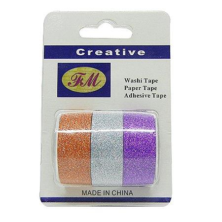 Conjunto Fita Adesiva Washi Tape Glitter Prata e Roxa