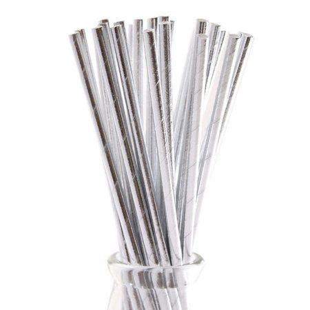 Canudo de Papel Prata Metalizado 20 Unidades