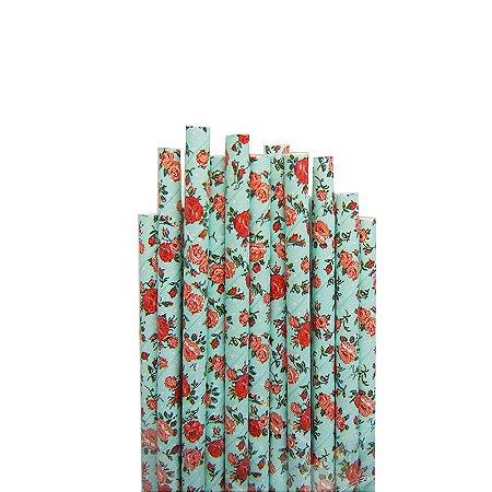 Canudo de Papel Floral Azul 20 Unidades
