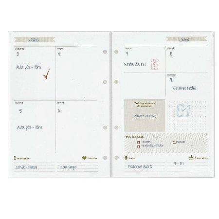 Refil Planner Organizador 167x240mm Agenda Sem Data Gold